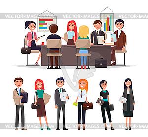 Clipart for merchants meetings jpg royalty free People Corporate Meeting Sit at Table Exchange Info - vector clip art jpg royalty free