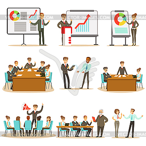 Clipart for merchants meetings clip royalty free Managers And Office Workers On Business Training - vector clipart clip royalty free