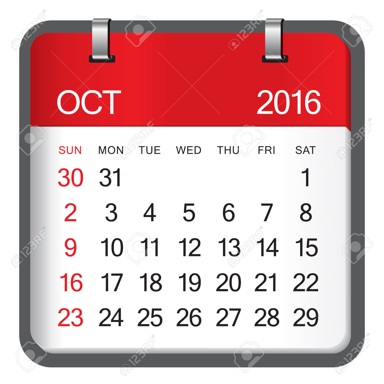 Clipart for october 2016 calendar.  stock vector illustration