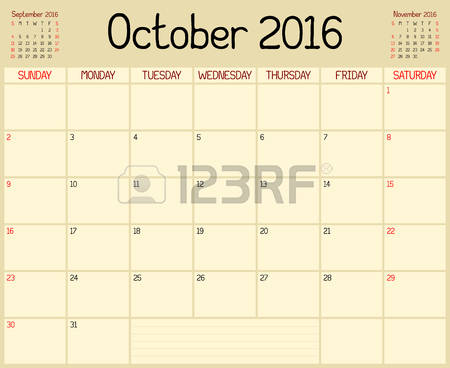 Clipart for october 2016 calendar.  custom page stock