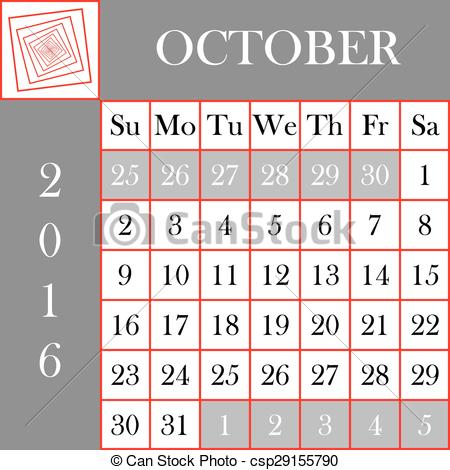 Eps vectors of square. Clipart for october 2016 calendar