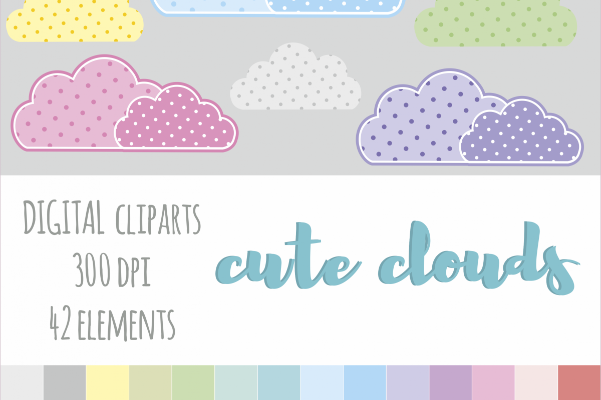 Clipart for planner stickers clip library download Digital Cloud Clipart, Clouds, Polka Dot Cloud Clipart, Rainbow Clouds  Clipart, Planner Stickers Clipart, for Personal & Commercial Usage clip library download