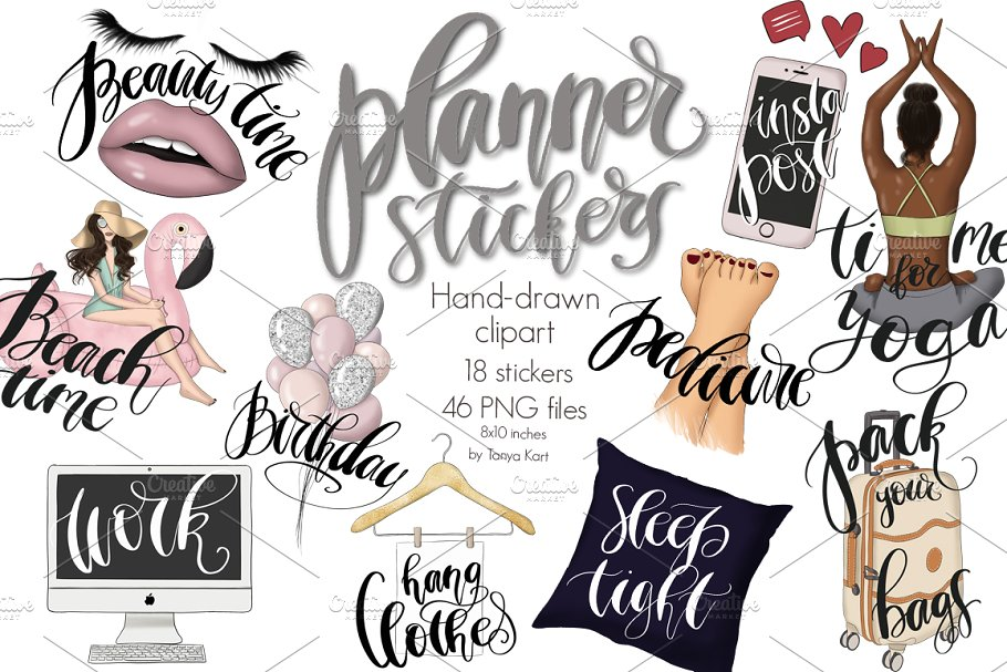 Clipart for planner stickers clipart black and white stock Planner Stickers Clipart Collection clipart black and white stock
