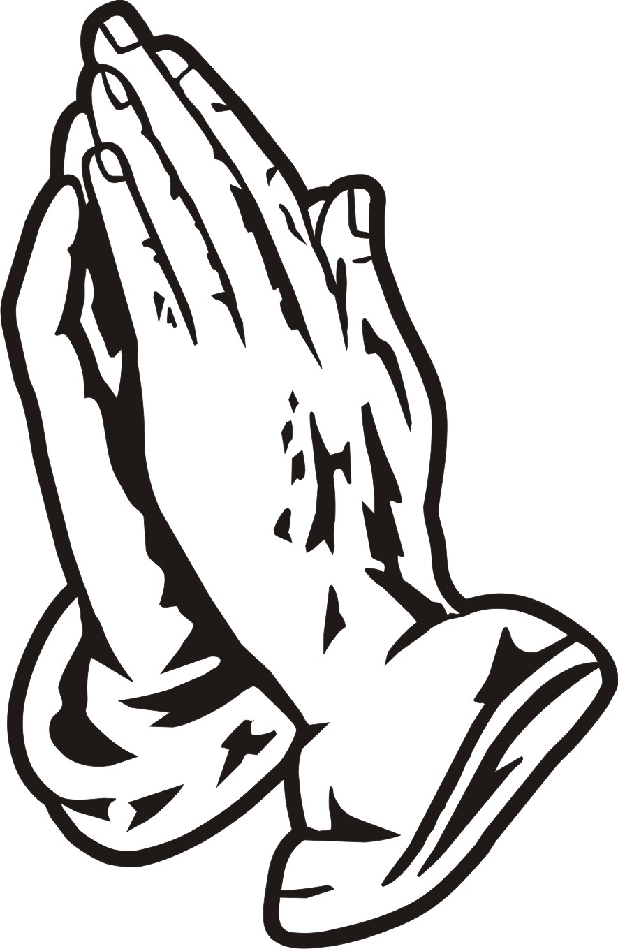 Hands joined in prayer clipart black and white