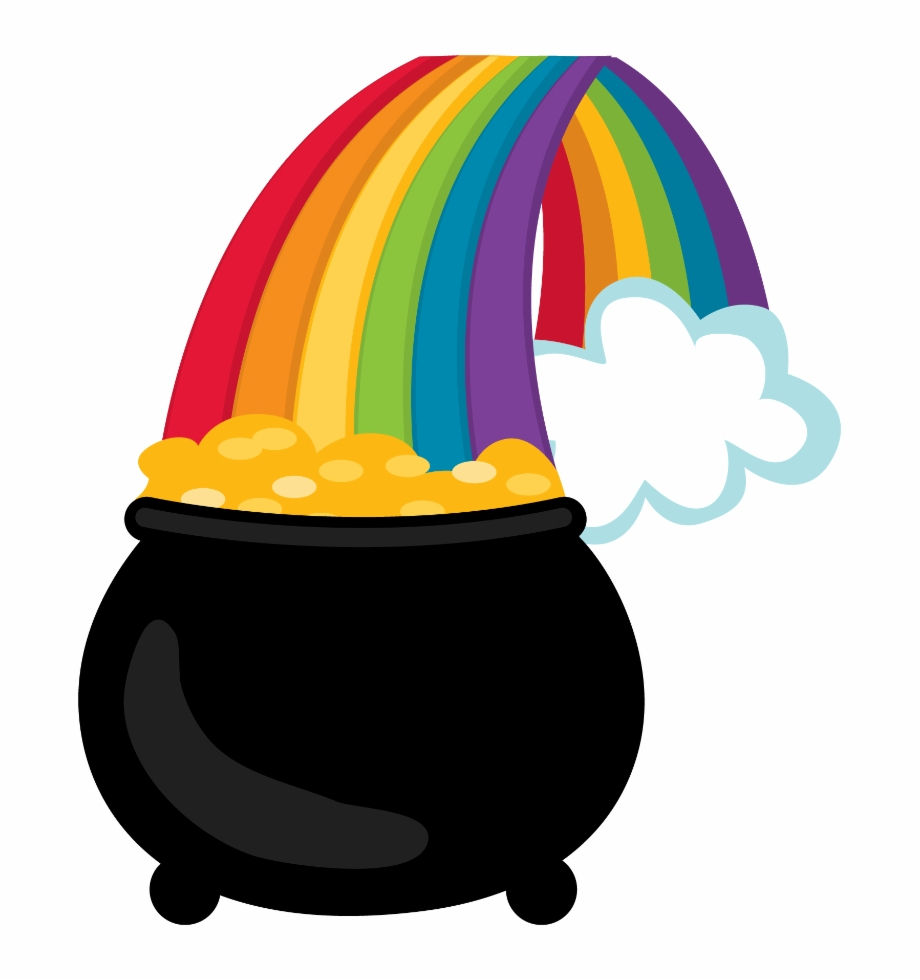 Pot of gold with rainbow clipart picture transparent download Printed Picture Of A Rainbow With A Pot Of Gold - Rainbow Pot Of ... picture transparent download