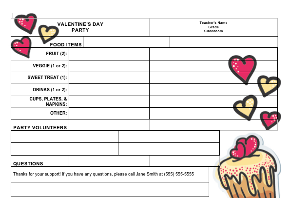 Clipart for sign in sheet sign at at school graphic freeuse stock Sign-up sheet for Valentine\'s Day classroom party from PTO Today ... graphic freeuse stock