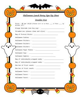 Clipart for sign in sheet sign at at school transparent library Halloween Party Sign Up Sheet | Halloween | Halloween party snacks ... transparent library
