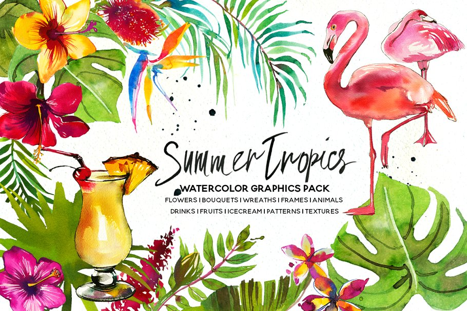Clipart for summer scenes flowers & birds clip royalty free Tropic Watercolor Flowers & Animals ~ Illustrations ~ Creative Market clip royalty free