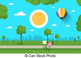 Clipart for summer scenes flowers & birds clipart freeuse library Summer scene - girl, balloon, flowers, sun, bird. Girl running with ... clipart freeuse library