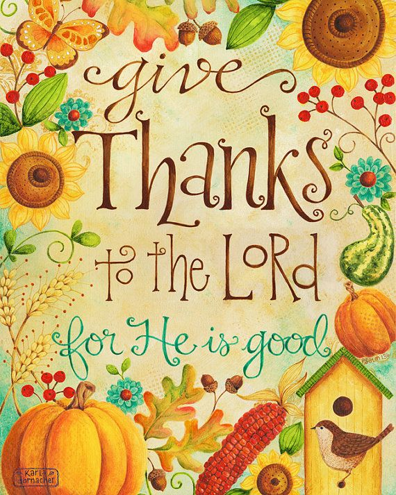 Clipart for thanksgiving religious picture free download Give Thanks to the Lord 8x10 Art Print Christian Bible Verse ... picture free download