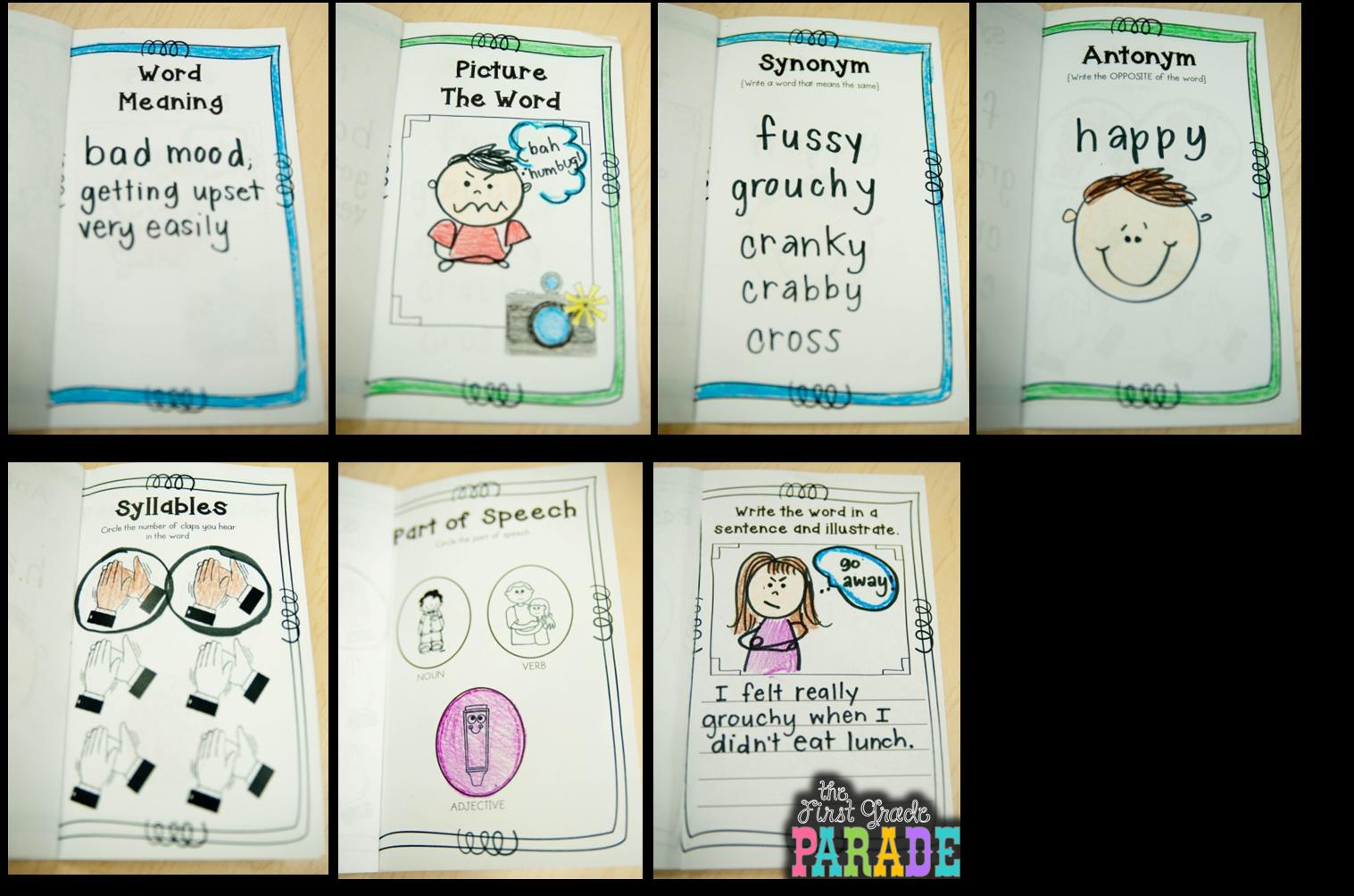 Clipart for thanksgiving vocabulary words clip transparent Personal Vocabulary Books ~ A Freebie! - The First Grade Parade clip transparent