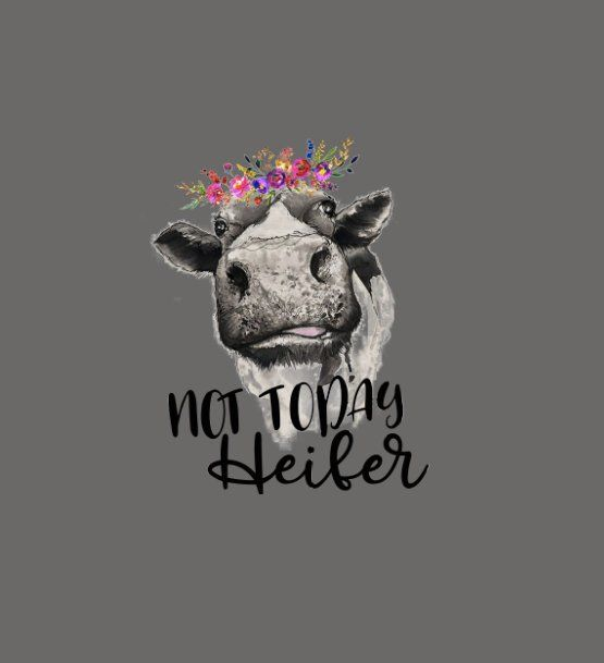 Clipart for waterslide decal free fine art clip black and white library Waterslide Decal Not Today Heifer Cow with flowers- ONE image inkjet ... clip black and white library