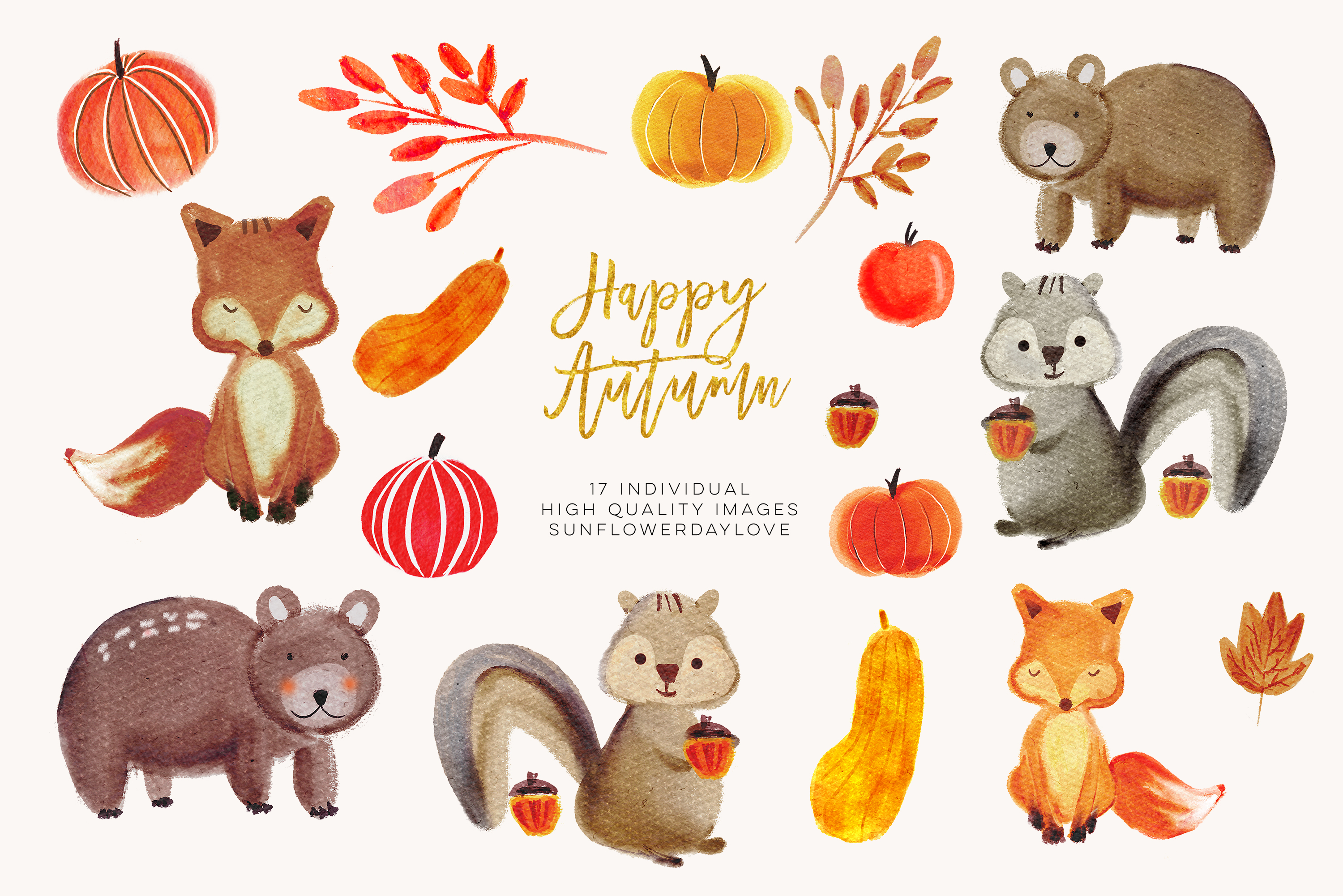 Clipart forest animals graphic library stock Watercolor forest animals clipart, autumn animal clip art, bear clipart,  fox clip art, Fall Animal Clip Art Illustrations, woodland clipart - Vsual graphic library stock