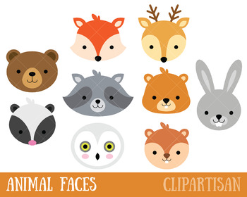 Woodland animal clipart clip royalty free Woodland Animals Clip Art, Forest Animal Masks clip royalty free