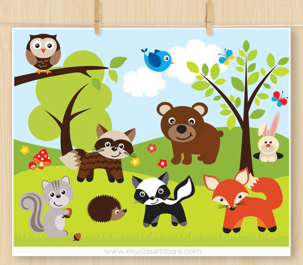 Clipart forest animals png black and white download Sherwood Forest Animals Clipart png black and white download