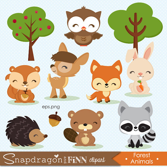 Clipart forest animals image freeuse download BUY5GET5 Woodland clipart, Forest Animal clipart, Baby Animal ... image freeuse download