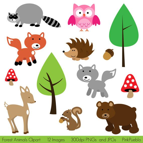 Clipart forest animals graphic black and white stock Forest Animal Clip Art Forest Animals Clipart Woodland - Free Clipart graphic black and white stock