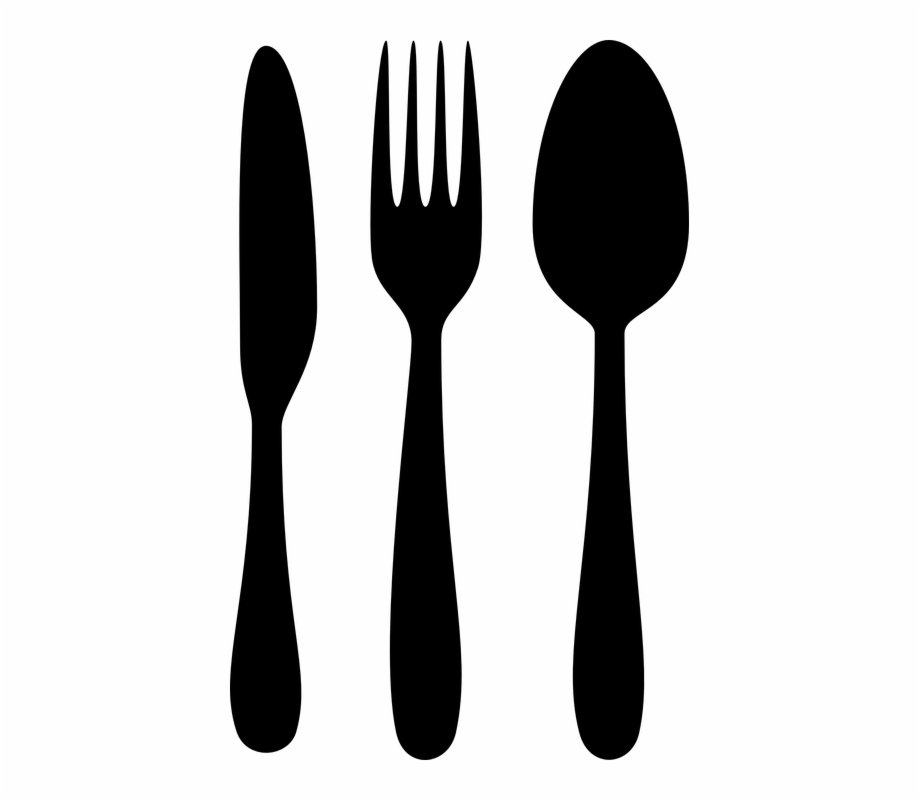Knife and fork clipart graphic free download Silverware Cutlery Spoon Fork Knife Black - Fork Spoon Knife Clipart ... graphic free download