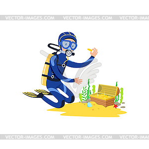 Clipart found clipart library library Lucky diver found treasure chest on sandy ocean - vector clipart clipart library library