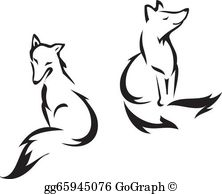Sitting black and white baby fox clipart vector free library Fox Clip Art - Royalty Free - GoGraph vector free library