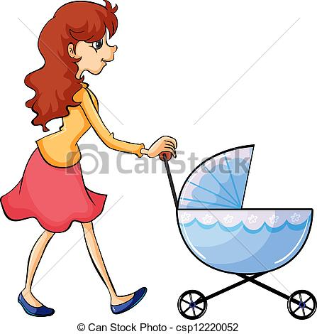 Clipart frau svg royalty free Clipart Vector of A woman and baby buggy - Illustration of a woman ... svg royalty free