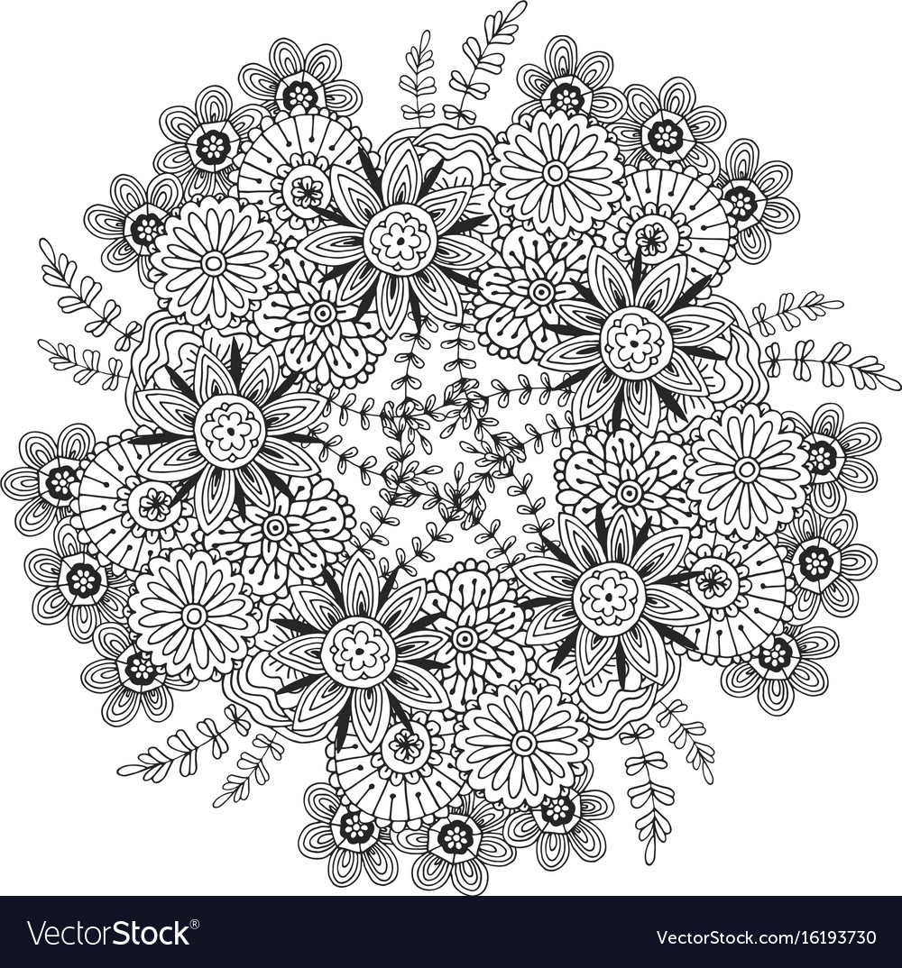 Clipart free adult coloring book flower mandala royalty free library coloring ~ Young Adult Coloring Book Flowers Printable Pages Clip ... royalty free library