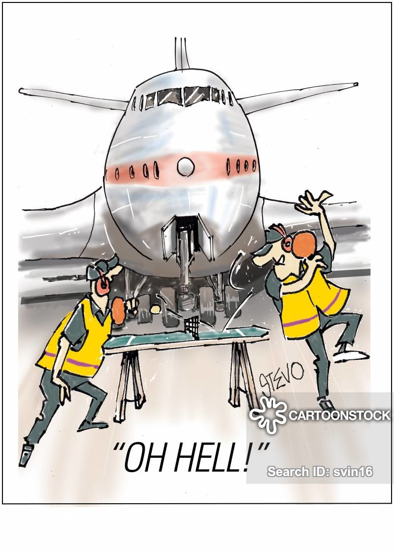 Clipart free cartoon using flahlights to park airplane at gate picture library Aviation Cartoons and Comics - funny pictures from CartoonStock picture library