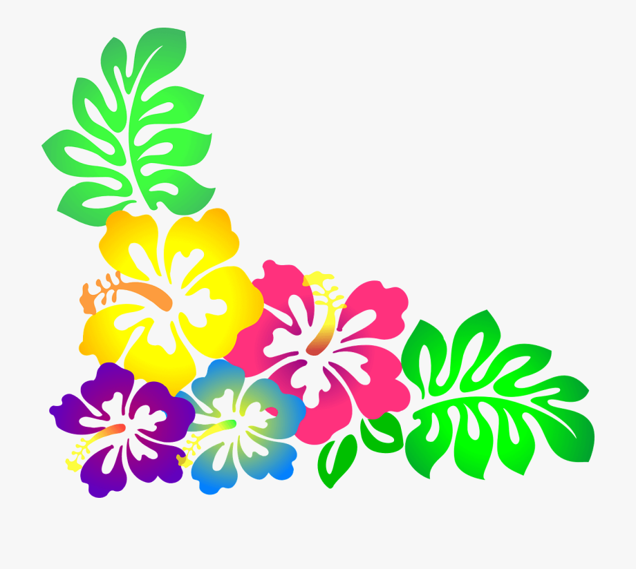 Clipart free flags flowers labor day simple picture free Labor Day Luau At Skate N Fun Zone - Hawaiian Flowers Clipart ... picture free