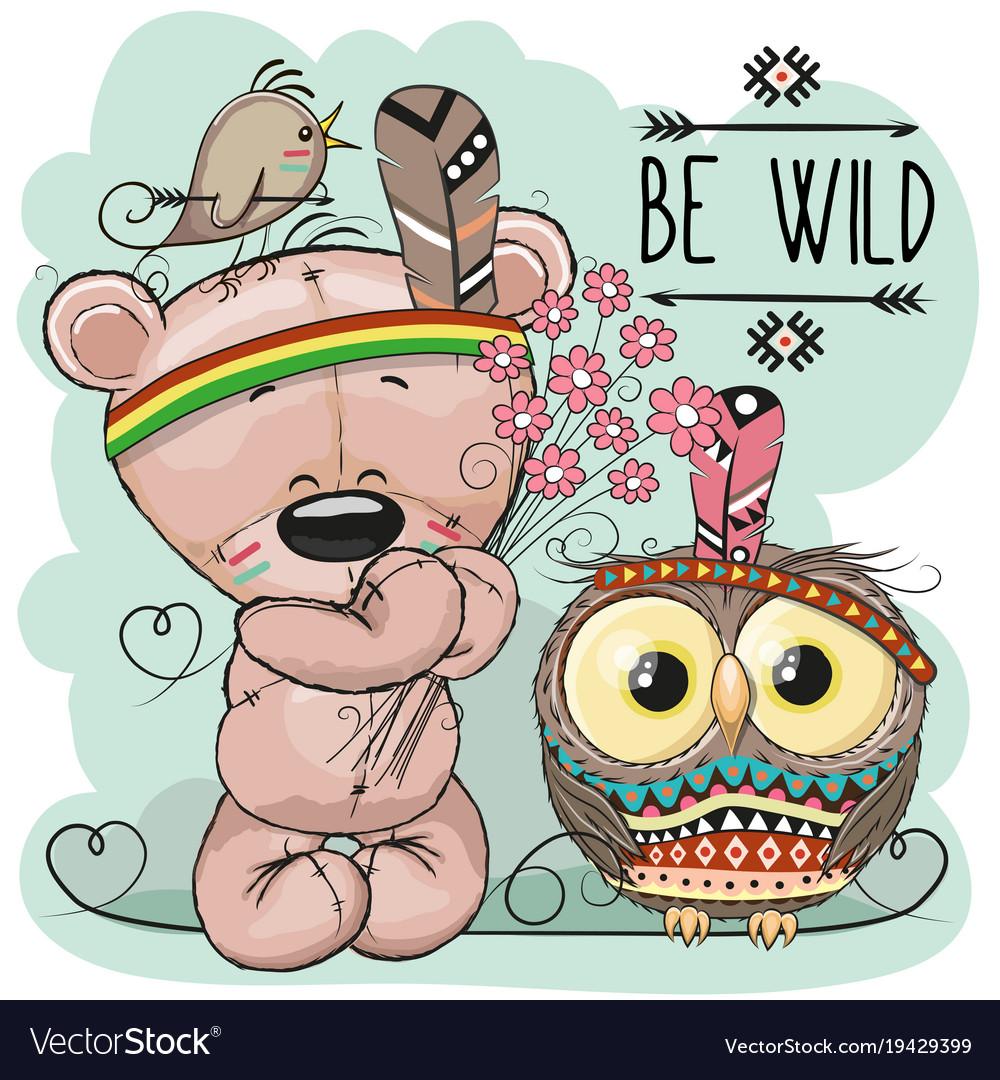 Clipart free of bear and owls clip art library Cute cartoon tribal teddy bear and owl clip art library