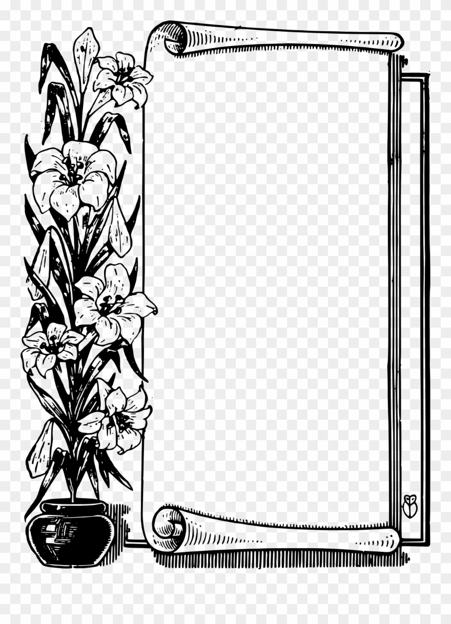 Clipart free pot of gold and scroll png transparent library Pot Frame Big Image Png - Scroll Border Black And White Clipart ... png transparent library