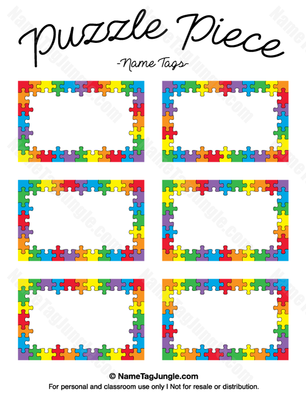 Clipart free preschool paint splatter puzzle png library download Puzzle Piece Name Tags | Name Tags at NameTagJungle.com | Name tag ... png library download