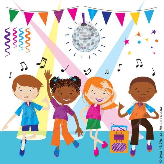 Unique dance clipart vector black and white stock Dance Clipart Disco Kids Party Children Boy Girl Dancing Cute Vector ... vector black and white stock