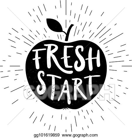 Clipart fresh start picture library library EPS Vector - Fresh start card. hand drawn lettering shaped in apple ... picture library library