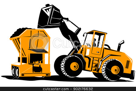 Clipart front end loader png library Front End Loader Digger Excavator Retro stock vector png library