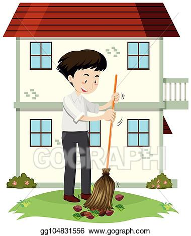 Clipart front yard clipart library stock EPS Illustration - A man cleaning front yard. Vector Clipart ... clipart library stock