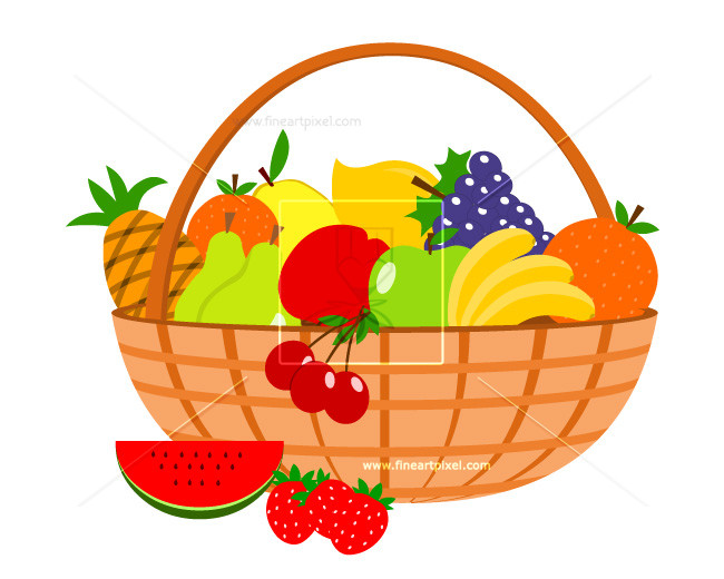 Clipart fruit basket transparent library Fruit basket | Free vectors, illustrations, graphics, clipart, PNG ... transparent library