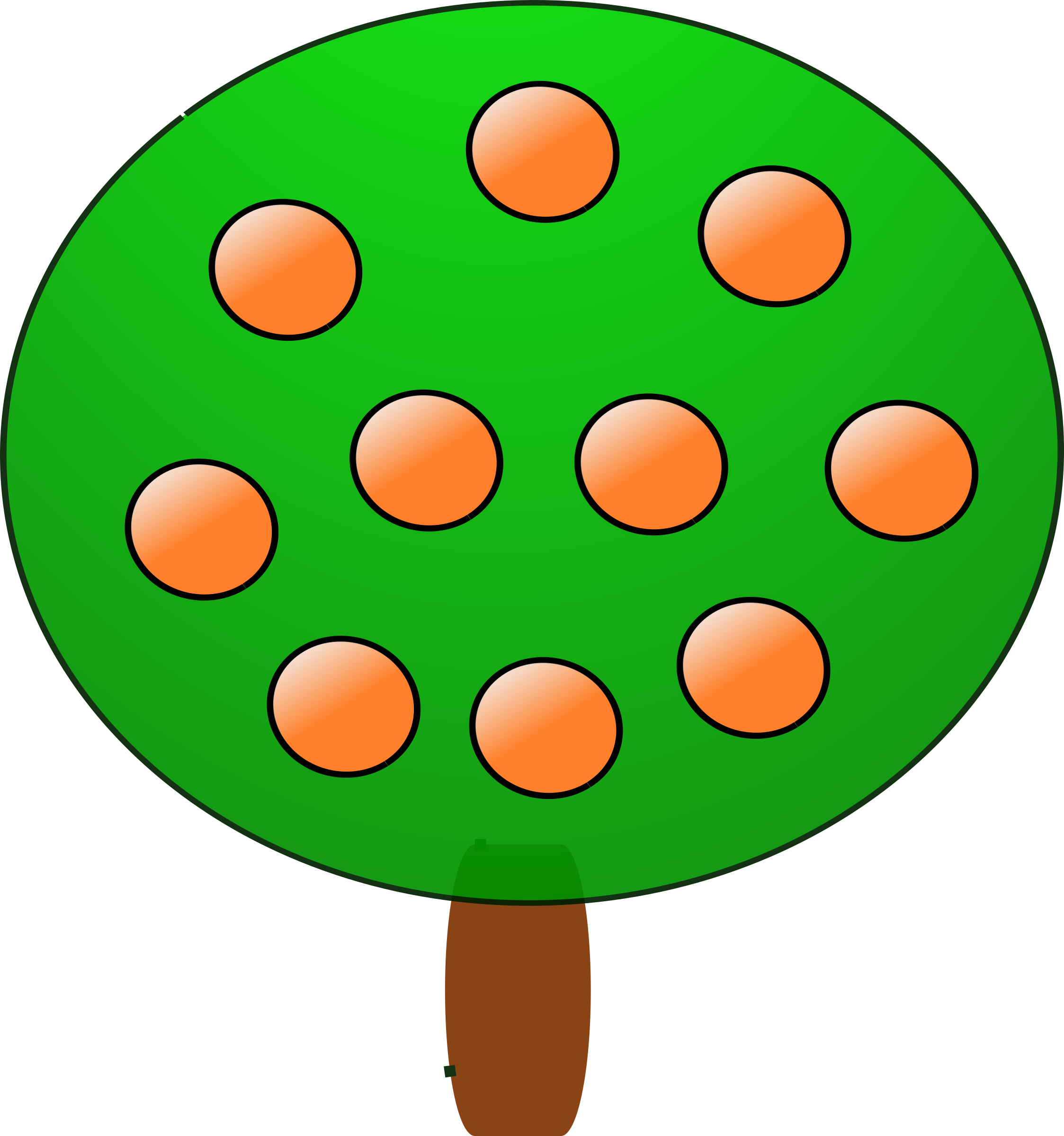 Tree with fruit clipart vector Clipart - Fruit tree 3, orange vector