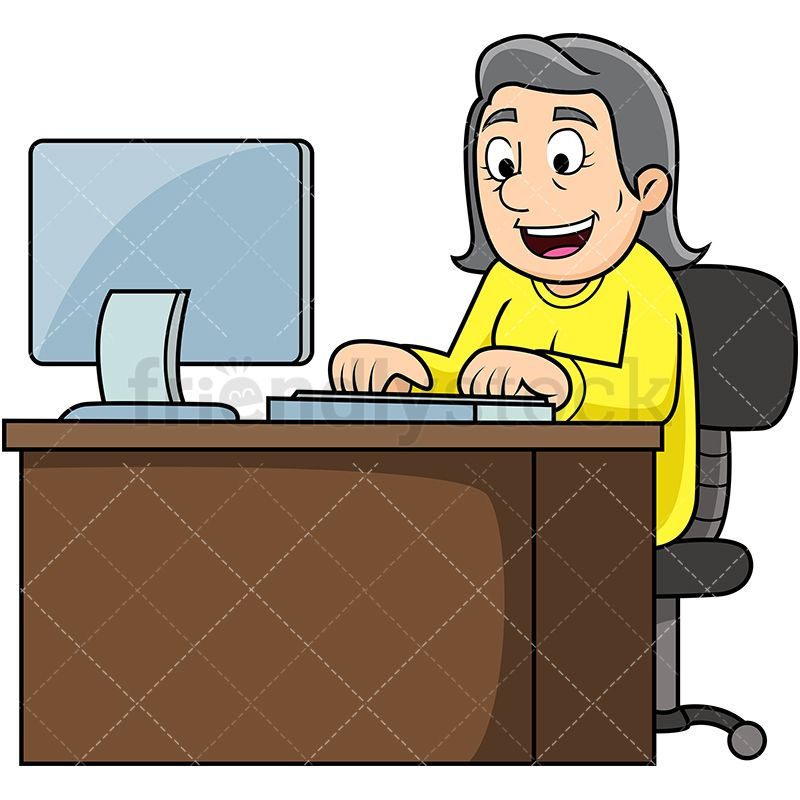 Clipart frustrated woman sitting in front of computer svg library stock Old Woman Working On Computer | ❤️Computers❤️ | Clip art, Vector ... svg library stock