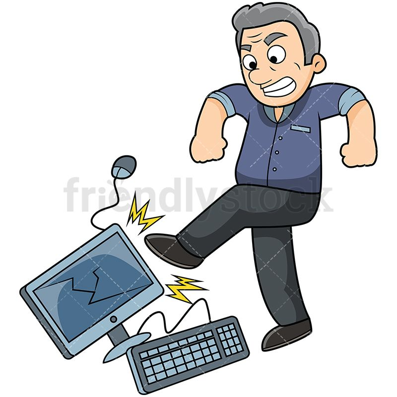 Clipart frustrated woman sitting in front of computer transparent library Angry Old Man Kicking Computer | ❤️Computers❤️ di 2019 transparent library