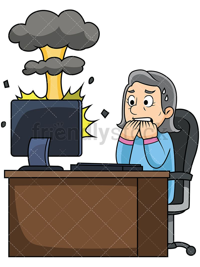 Clipart frustrated woman sitting in front of computer graphic transparent stock Old Woman Watching Her Computer Explode | Reminds me of the good old ... graphic transparent stock