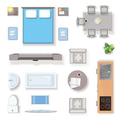 Clipart furniture top view png black and white stock Apartment Top View, Living Room Bedroom and Bathroom Furniture ... png black and white stock