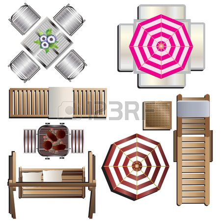 Clipart furniture top view png freeuse stock Outdoor Furniture Top View Set 18 For Landscape Design , Vector ... png freeuse stock
