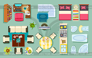 Clipart furniture top view clipart library library Flat Interior Top View. Pieces of Furniture Design - vector clipart clipart library library