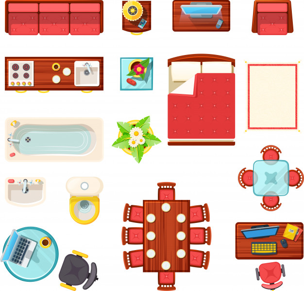 Clipart furniture top view clip library download Home furniture top view set Vector | Free Download clip library download