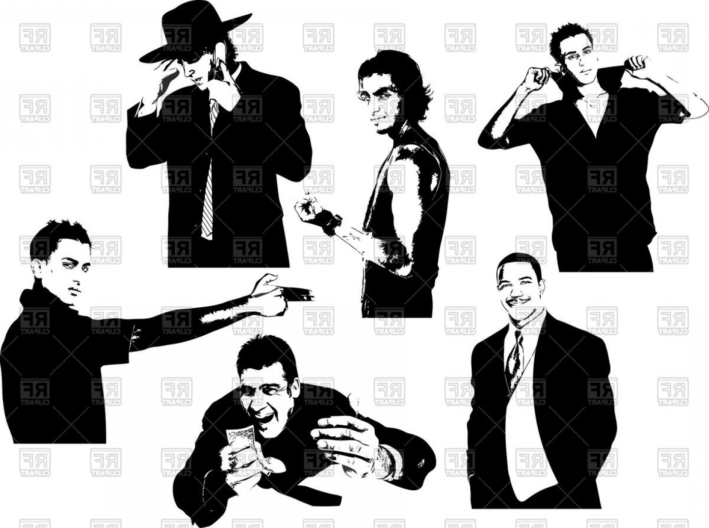 Clipart gangsters graphic freeuse download Silhouettes Of Handsome Men Bandits And Gangsters Vector Clipart ... graphic freeuse download