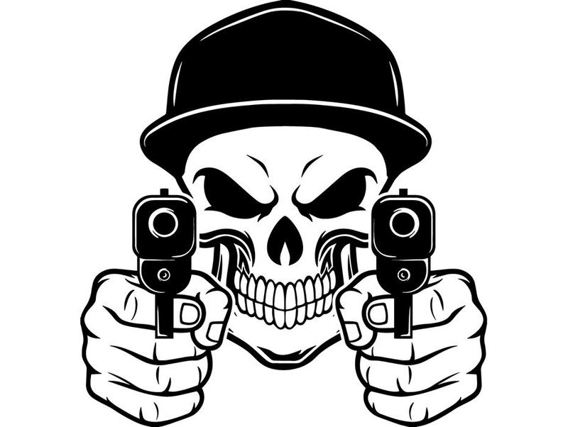 Skull face with guns clipart banner library stock Gangsters – ClipArt SVG banner library stock