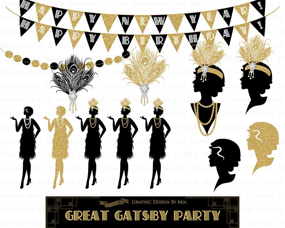 Clipart gatsby vector free download Great Gatsby, Glitter Gold, 1920 #poque#Clipart#Belle#Art ... vector free download