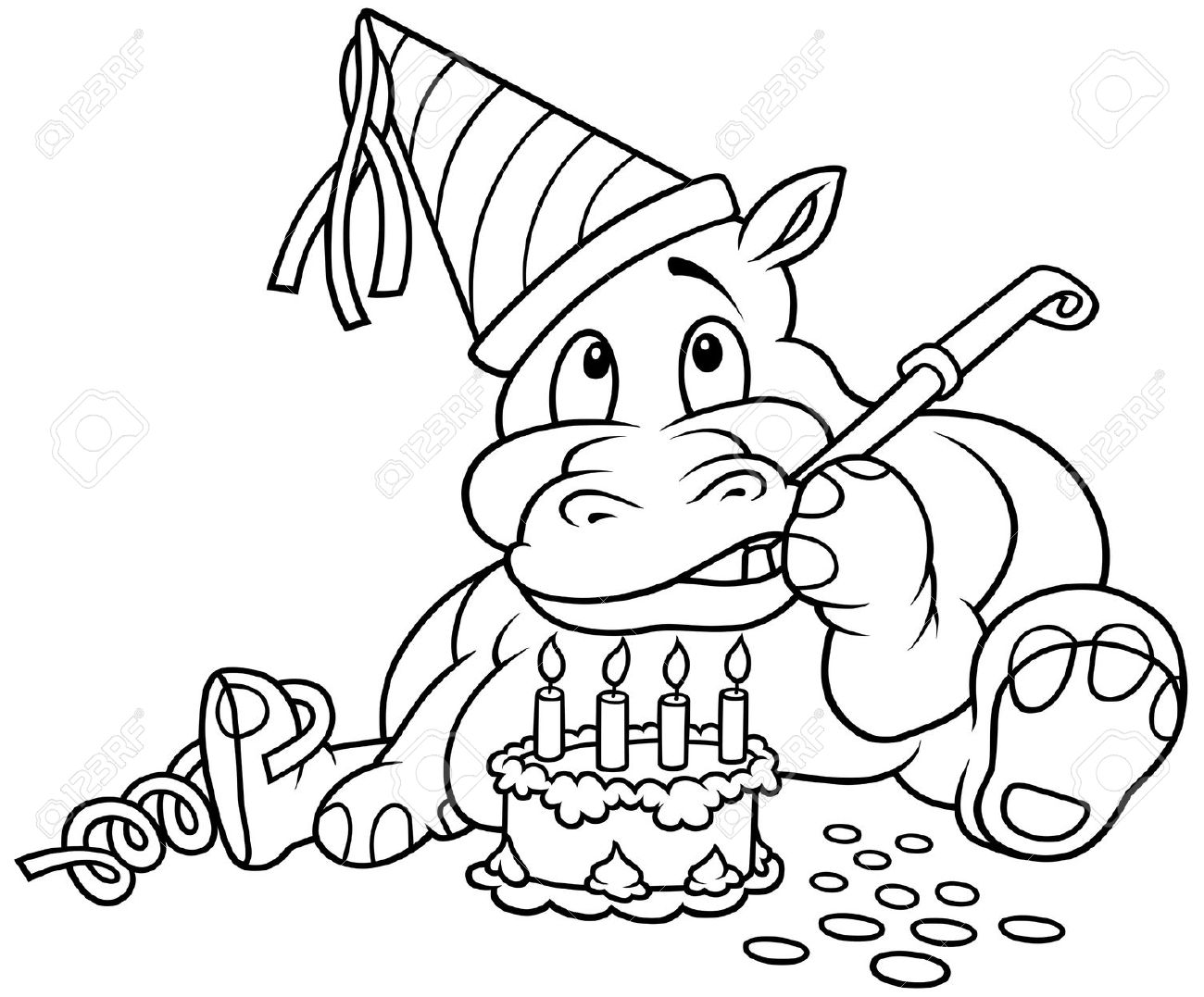 Clipart geburtstag schwarz wei clip art transparent Hippo And Cake - Black And White Cartoon Illustration, Vector ... clip art transparent