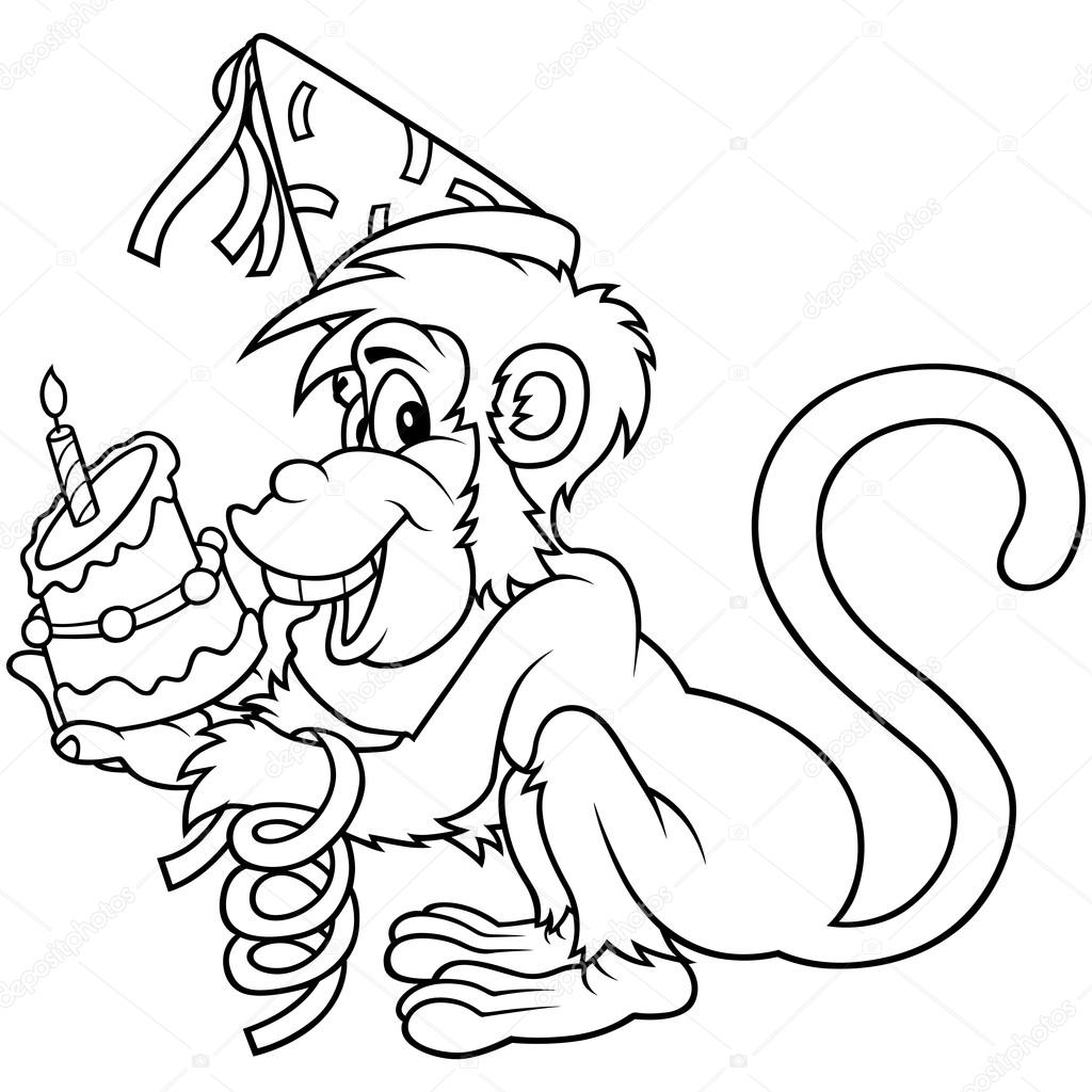 Clipart geburtstag schwarz wei vector freeuse library Monkey and Birthday Cake — Stock Vector © dero2010 #4674009 vector freeuse library