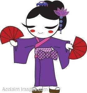 Clipart geisha svg freeuse download kimono art | Clipart Picture of a Geisha Dancing in a Purple Kimono ... svg freeuse download